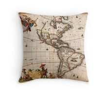 1658 Visscher Map of North America and South America Geographicus America visscher 1658 Throw Pillow