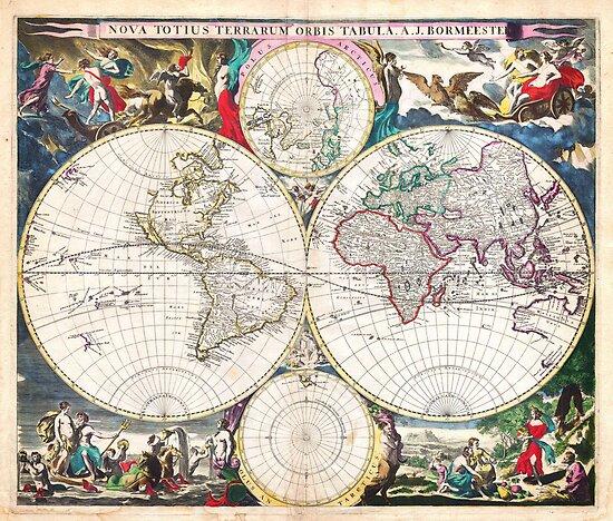 1685 Bormeester Map of the World Geographicus TerrarumOrbis bormeester 1685 by Adam Asar