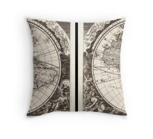 1696 Zahn Map of the World in Two Hemispheres Geographicus World zahn 1696 Throw Pillow