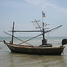 Anchored Boat - Hua Hin, Thailand by Mary-Elizabeth Kadlub