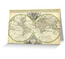 1691 Sanson Map of the World on Hemisphere Projection Geographicus World2 sanson 1691 Greeting Card
