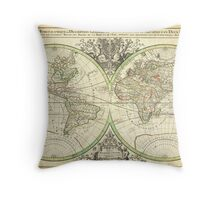 1691 Sanson Map of the World on Hemisphere Projection Geographicus World2 sanson 1691 Throw Pillow
