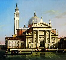Canaletto  The Church of S. Giorgio Maggiore, Venice, with sandalos and gondolas by Adam Asar