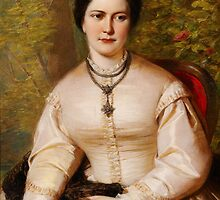 English 19th century Portrait of a lady by Adam Asar