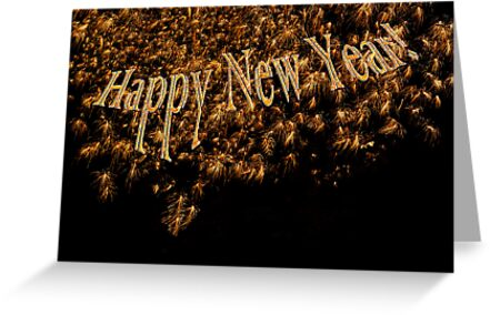 Happy New Year 2014 Gold Fireworks  by Mariannne Campolongo
