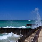 Waves on Breakwalls, Lake Michigan by DArthurBrown