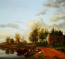 A country house on the Vliet near Delft by Adam Asar