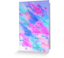 SEEING STARS 1 - Light Blue Pretty Starry Sky Abstract Watercolor Painting Lovely Feminine Pattern Greeting Card