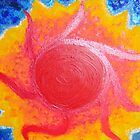 Solar Burst, red orange yellow by Heather Conley