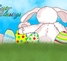 Easter Blessings Card With Rabbit And Easter Eggs by Moonlake