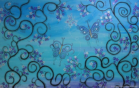 Whimsical Blue Butterfly Family by Heather Conley