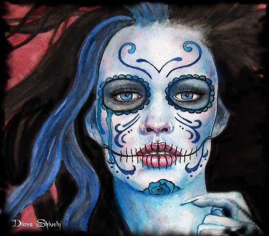 Day Of The Dead Blue by Diana Shively