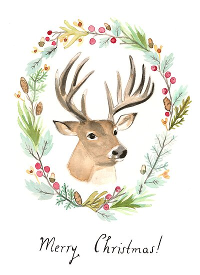 Reindeer Christmas Card by julieannemcmaho