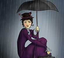 Mary Poppins in the Rain by CatAstrophe