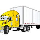 Semi Truck Yellow White Trailer by Graphxpro