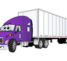 Semi Truck Purple White Trailer by Graphxpro