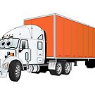 Semi Truck White Orange Trailer by Graphxpro