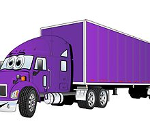 Semi Truck Purple Trailer Cartoon by Graphxpro