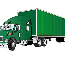 Semi Truck Green Trailer Cartoon by Graphxpro