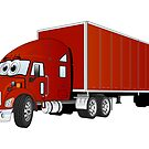 Semi Truck Red Trailer Cartoon by Graphxpro
