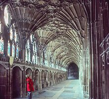 Marj in cloister 1372-1450 Gloucester Cathedral 198101150019 by Fred Mitchell