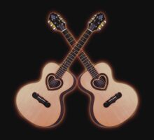 Double acoustic Guitar heart Tshirt by goodmusic