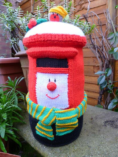 Hand Knitted Red Post Box by mrsmcvitty