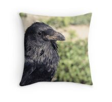 Corvus corvax, Common Raven Throw Pillow