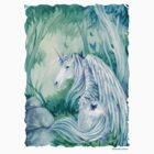 Emerald Green Forest Unicorn t shirt by meredithdillman