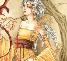 Golden Dragon Lady Sticker
