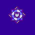 Geometricat in blue and purple by Julia Marshall