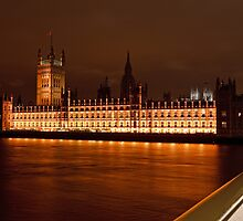 Houses of Parliament at Night from Westminster Bridge by Keith Larby