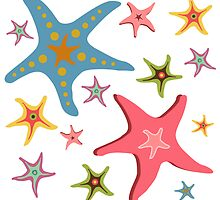 Starfishes seamless pattern by Ana Marques