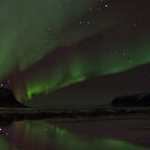 northern lights panorama by JorunnSjofn Gudlaugsdottir