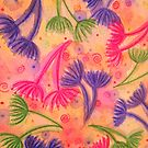 COW PARSLEY 3 - Happy Neon Pink Cherry Acid Green Nature Floral Abstract Watercolor Painting Pattern by EbiEmporium