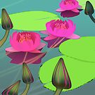 Magenta lotuses and foggy morning by CatchyLittleArt
