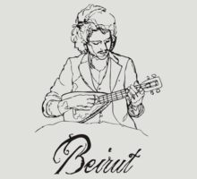 Beirut - Zach Condon with ukulele - black by Alex Magnus