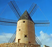Windmill on the Spanish island Mallorca by Arie Koene
