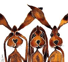 SEE NO EVIL, HEAR NO EVIL, SPEAK NO EVIL  by Hares and Critters