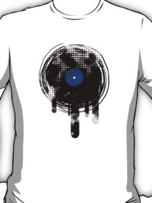 Melting Vinyl Records Vintage Blue T-Shirt T-Shirt