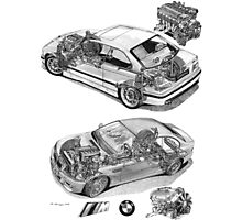 BMW M3 Cutaways E36 and E46 with engines Photographic Print