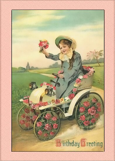 Girl with Flowers Birthday Greetings by Yesteryears