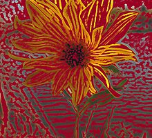 Yellow Flower, Van Gogh Style - October 2012 by Barbara Storey