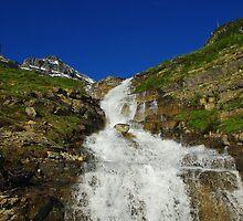 Waterfall near Logan Pass, Montana by Claudio Del Luongo
