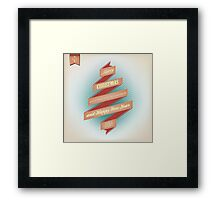 Vintage Grunge Christmas And Happy New Year On Red Ribbon Framed Print