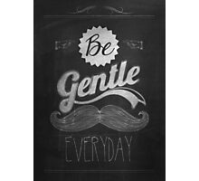 Vintage Mustache Calligraphic And Typographic Background With Chalk Word Art On Blackboard Photographic Print
