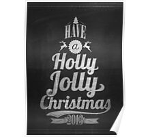 Vintage Merry Christmas And Happy New Year Calligraphic And Typographic Background With Chalk Word Art On Blackboard Poster