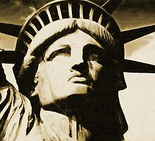 Statue of liberty face close up tonal by Adam Asar