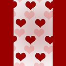 Red and pink hearts on pink  by CatchyLittleArt