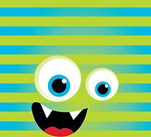 IPhone :: monster face laughing STRIPES - green lime + aqua blue by Kat Massard